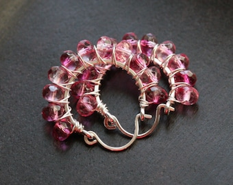 Raspberry pink beaded hoops, hoop, Czech glass beads, magenta, wire wrapped, sterling silver, Mimi Michele jewelry