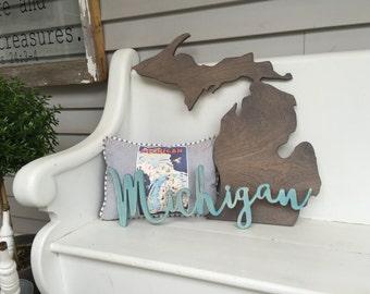 Michigan Word Wood Cut Wall Art Sign Decor