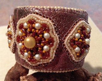 Handmade Bead Embroidery Cuff Bracelet leather Medallion Topper Bodacious brown