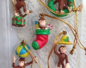 Curious George Mini Ornaments Childrens Theme Holiday Decor set of 5 in Box
