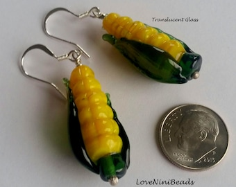Corn on the Cob Earrings ~ Glass Lampwork Earrings