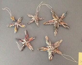 Newspaper Star Christmas Ornaments