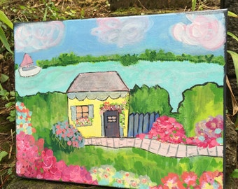 Original art, floral, garden, shabby chic, painting, seaside, ocean, cottage painting