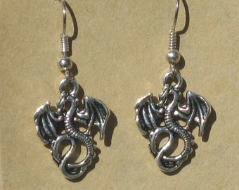 Dragon Earrings in Silver or Brass