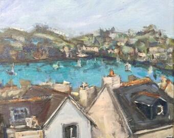 "Fowey Cornwall  10""x10"" original acrylic on canvas painting"