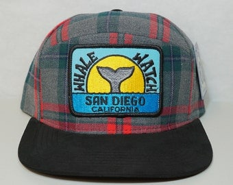 San Diego Whale Watch Patch New Snapback Hat - Plaid 6 Panel Hybrid -