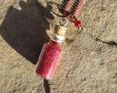 Pixie Dust Necklace Swarovski Crystal Mini Bottle, Green, Red, Bronze