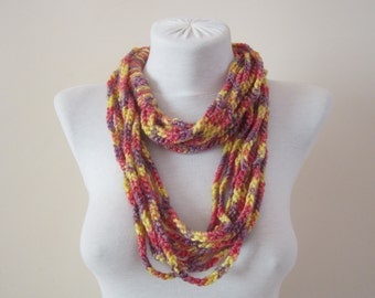 Crochet Chain Necklace,Crochet Loop Spring Scarf Fashion