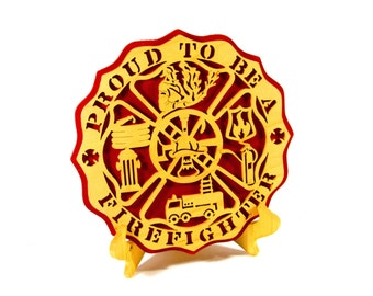 Proud to be a Firefighter plaque, scroll saw art