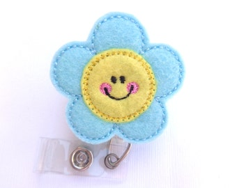 Cute badge reel Retractable badge holder - Happy Daisy - light aqua and light yellow felt flower - nurse badge reel medical badge holder