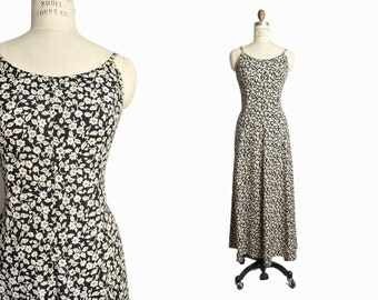 sale! 20% off - Vintage 90s Black Floral Sundress / Floral Gypsy Maxi Dress - women's small