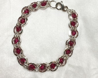 Ruby and Sterling Silver Chainmaille Bracelet