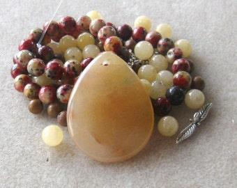 Jade Pendant and Beads, DIY Jewelry Kit,  Jewelry Making Beads, Gemstone Beads, Craft Supplies, Bead Kit, Necklace Kit, Jewelry Design, Jade