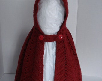 Little Red Riding Hood Crocheted Dark Red Dress Up or Everyday Cape for Little Girls in Size 36-48 Months 3T-4T
