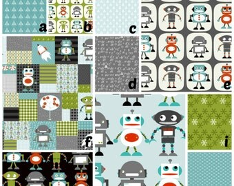 Custom Bedding in Aqua Gray Green Robots