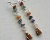 Seneca Lake Beach Glass Gemstone Stering Silver Earrings
