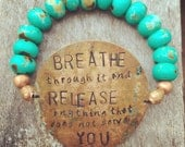 Breathe, colored none bead, stretchy bracelet