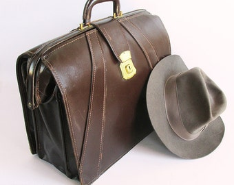 Mid Century Dark Brown Leather Briefcase