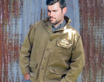 1940s-50s Hinson Canvas Hunting Jacket - Upland Game Field Coat - Mens Size 42