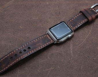 Hand Stitched Leather Apple Watch band in Italian VINTAGE WASHING TAN Leather
