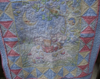 Baby Quilt Blanket Story Time Flannel