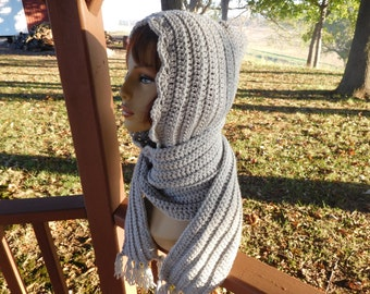 """Hoodie in Pale Grey with 75"""" Scarf and Fringe"""
