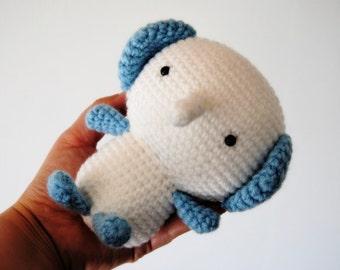 Amigurumi, blue and white elephant, toy, crochet, ready to ship