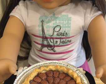 Miniature Dollhouse Whole Pecan Pie for American Girls AG 18 inch doll food 1:3 scale