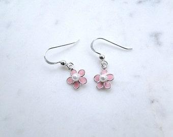 Dainty flower earrings, silver flower earrings, pink flower earrings, sterling silver pearl earrings, pastel earrings, dainty small earrings