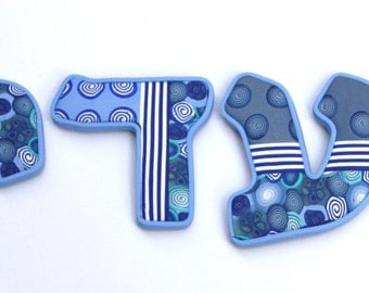 Custom made Hebrew letters, millefiori polymer clay
