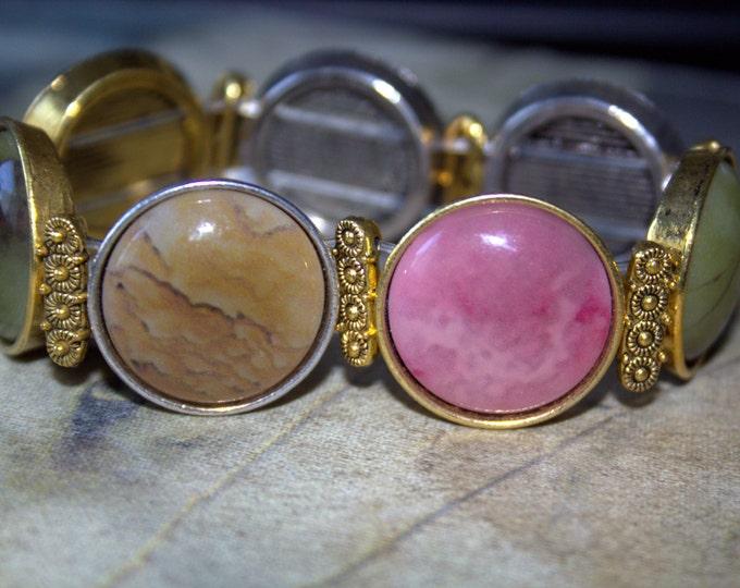 Pastel Faux Stone Stretch Bracelet