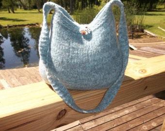 13-1184 Handknitted felted wool purse,tote,handbag fs