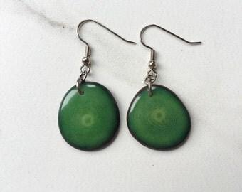SMALL Green Earrings. Tagua nut earrings. Grass green. Light weight Earrings. eco friendly jewelry. Sela Designs