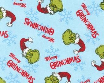 Robert Kaufman Dr. Seuss How The Grinch Stole Christmas Blue Fabric - 1 yard