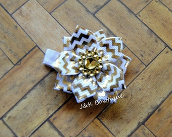 White and gold chevron...Ribbon flower bow...gold center