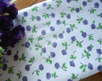 Vintage Purple Roses Cotton Fabric 4 Yards