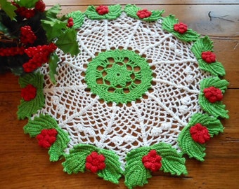 Vintage Hand Crocheted Doily Green Red White Christmas Colors