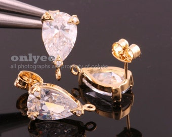 10pcs-15.5mmX9mm Bright Gold plated Brass LUX Teardrop CZ, zirconia earring, 925 sterling silver post Earring(K867G)