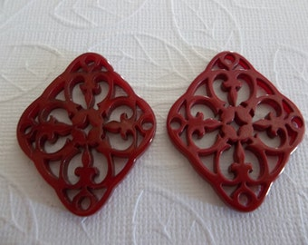 Red Filigree Diamond - 40X33mm Connector or Pendant - Lacy Laser Cut - Two-Sided - Lucite from Germany - Qty 1