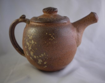 Toasty Brown Ash-Speckled Wood-Fired Teapot (MCP15-1)