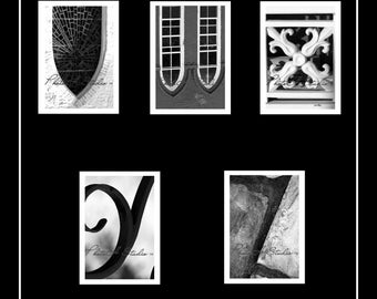 Letters VWXYZ - Architectural Alphabet 4 X 6 Black and White Print free shipping on 2 or more