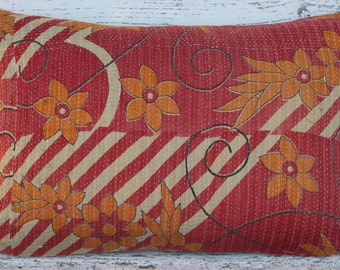 Pillow Cushion Cover Kantha 16 x 24 inch 40 x 60 cm Bright Colours. Handmade with Passion