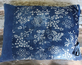 Pillow Cushion Cover  Indigo Blue Linen  14 x18 inch 35 x 45cm . Handmade with Passion