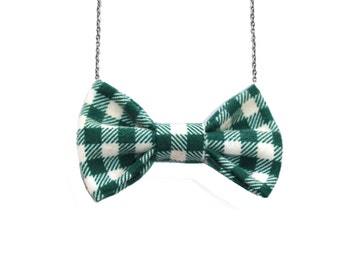 Plaid Green Flannel Bow Tie Necklace, Women Bowtie, Spring Easter Bow Necklace, St Patrick's Day Party