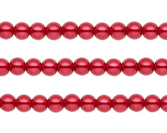 Round Glass Pearls Beads Red  10mm 16 Inch Strand