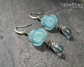 Rosettes earrings [in aqua] / silver plated finish hook drop lightweight earrrings