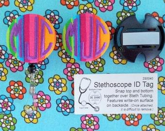 Matching Stethoscope Id & Badge Reel/ Name Badge Holder Set - Embroidered Monogram by flowersaks