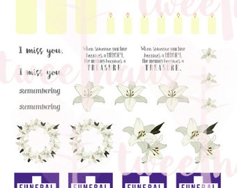PRINTABLE Memorial Sticker Set for Erin Condren and Similar Planners