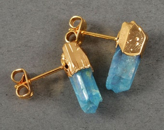 S T A R D U S T  S T U D S // Aquar Aura Quartz Earrings in 22k Gold Plate // Post