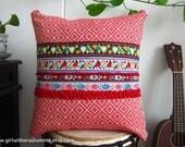 Red Pillow Boho Ethnic - Geometric Tribal Boho Throw Pillow Cushion Cover